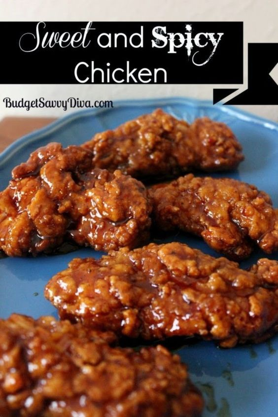 Sweet and Spicy Chicken Recipe- came out really good, changed up amounts a little; use pre-breaded chicken breasts