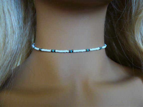 Blue and white seed bead chain choker