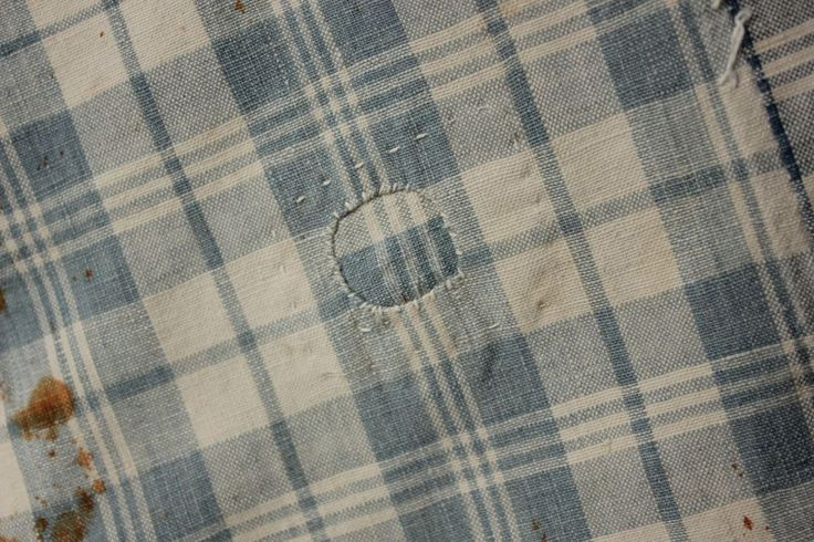 Antique French baby child's mattress cover ! early 1800's check homespun  Timeworn ~ www.textiletrunk.com