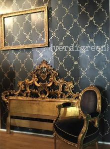 Chalk Paint® wall in our new studio - #graphite with #darkwax stripes and gold gilding wax on a #royaldesign stencil for a luxe look #chalkpaint #morethanpaint #anniesloan #verdigreen