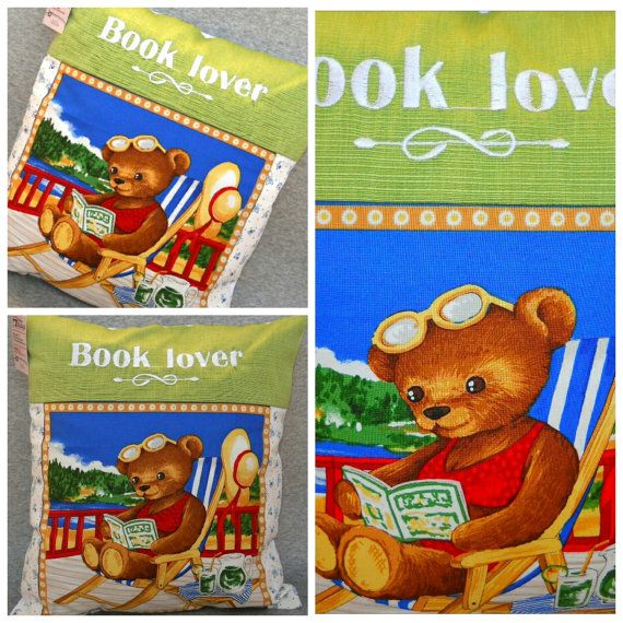 Book lover bear pillow by AStoryStore on Etsy