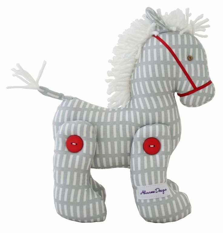 Alimrose Jointed Toy Pony - Grey Mod - $34.95 This Jointed Toy Pony from Alimrose Designs is a beautiful decorative toy for any little girls or boys nursery with gorgeous fabric and a fluffy mane. Measures aprx 22cm tall & 18cm long