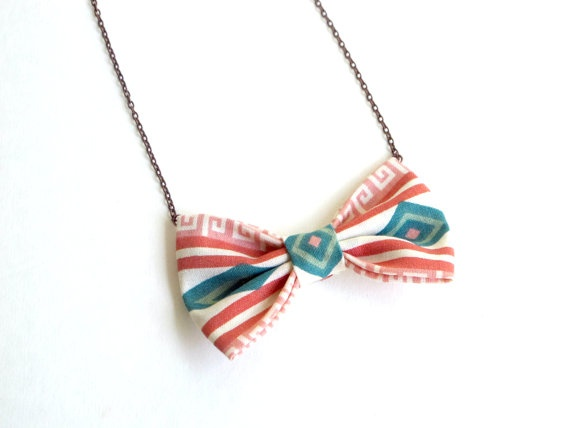 Aztec Pattern  Bow Tie Necklace by Fr33na on Etsy, $11.00