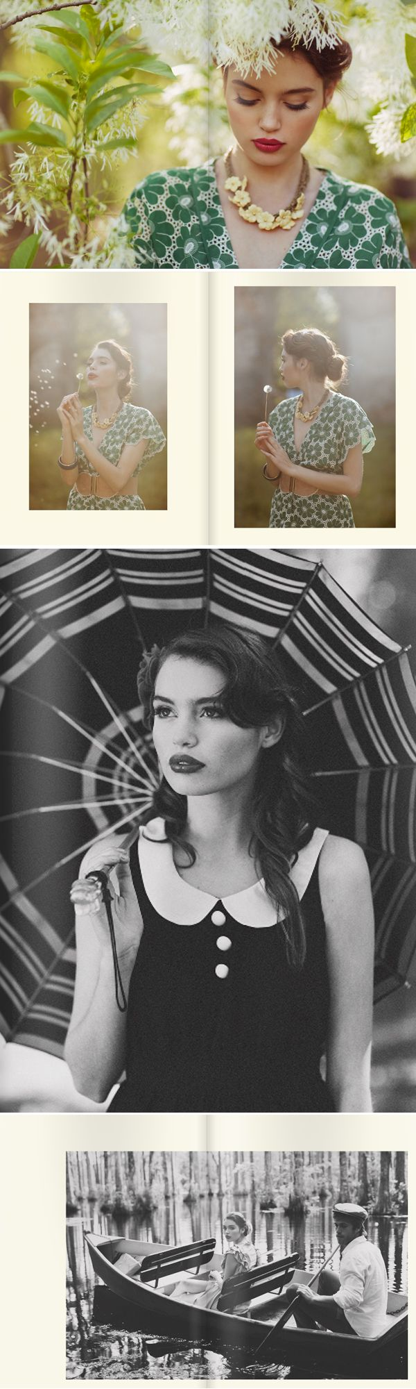 I love how in color and in black and white the photograph still portrays a gentle spring theme. She looks like Geena Davis