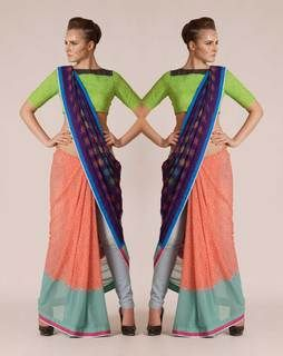 Elegant Digital Print Saree peachmultiNMBS002