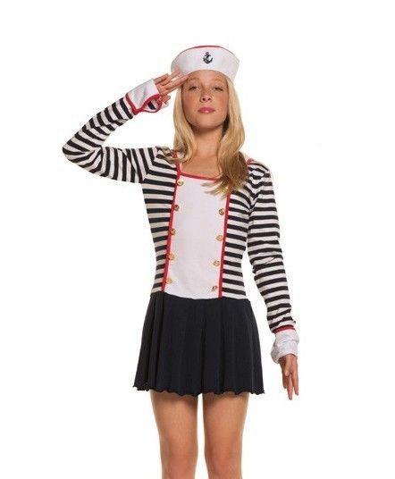 Sailor Halloween Costume Girls M L Medium Large Tween Military Patriotic Dress  #ElegantMoments #CompleteCostume