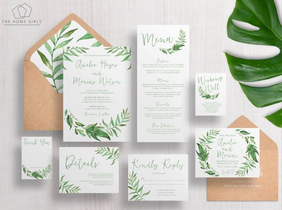 Printable Wedding Invitation Suite Leafy / Greenery / Garden /Wreath / Green / Leaves / Custom / Download / Invitation Set / Amelia Suite