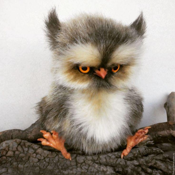 Купить Совенок Прошка - серый, сова, совенок, друзья тедди, ручная работа, авторская работа