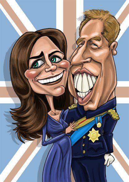 caricature of Duke and Duchess of Cambridge, Prince William & Kate Middleton