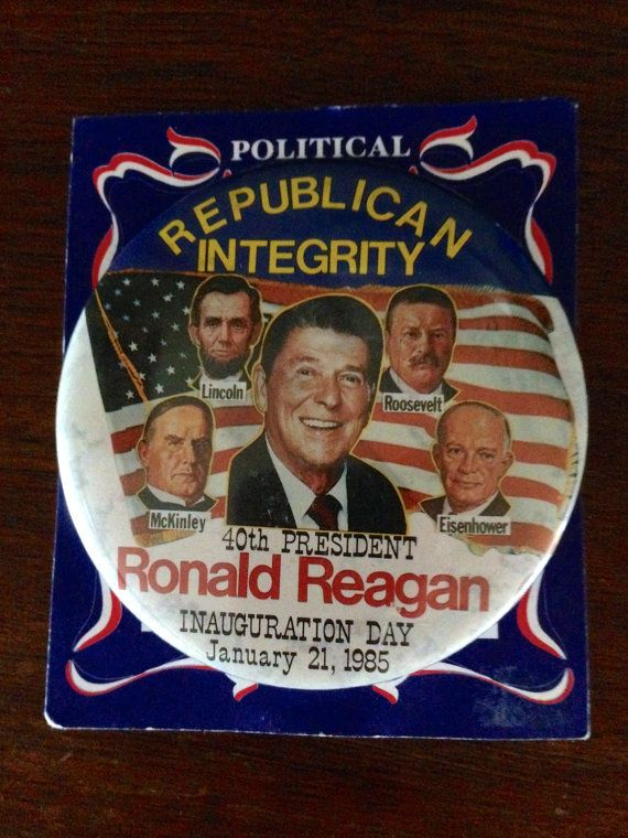 "Ronald Reagan 40th President Button ""Republican Integrity"""