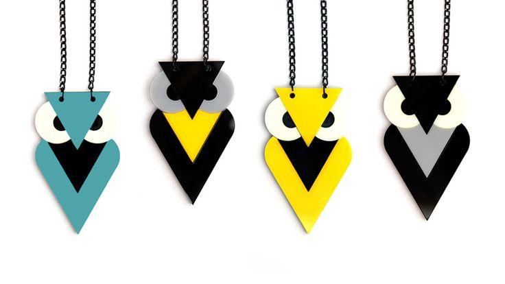 Plexiglass 80s Owls Jewelry from Angle Dust