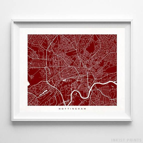 Nottingham, England Street Map Wall Art Poster - 70 Color Options - Prices from $9.95 - Click Photo for Details - #streetmap #map #homedecor #wallart #Nottingham #England