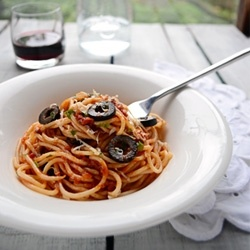 Pasta Puttanesca by oldcook | Savory | Pinterest