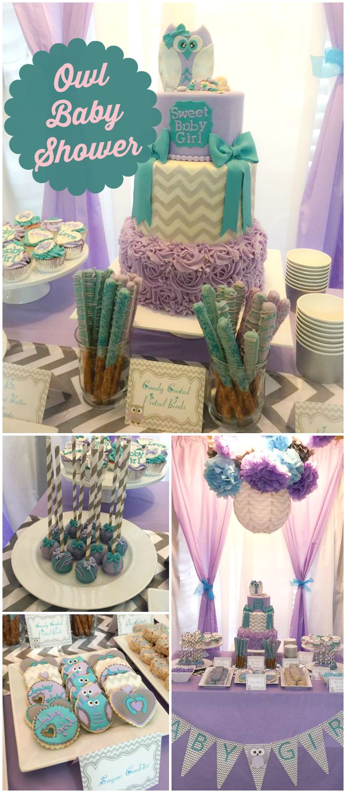 I'm loving this stylish owl baby shower! It has a purple and teal color scheme! See more party planning ideas at CatchMyParty.com!