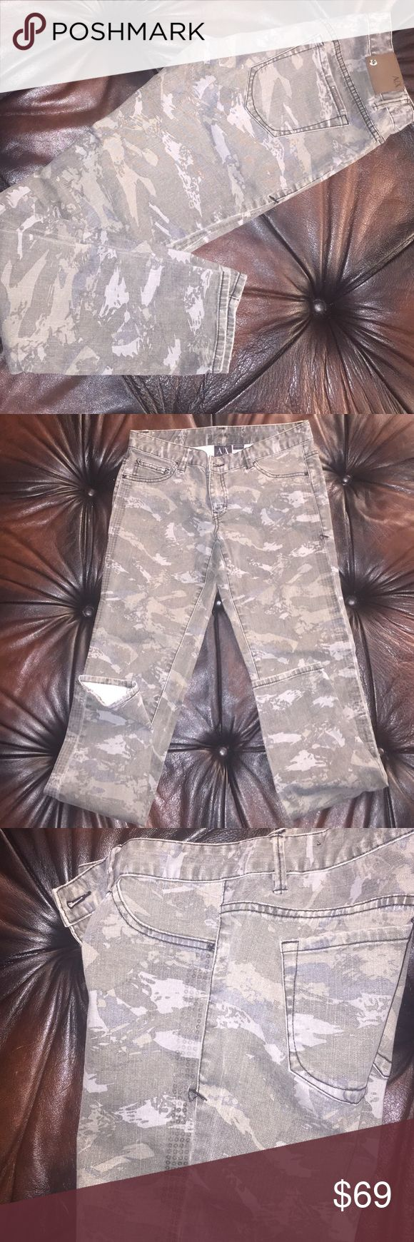 Selling this A/X side Embellished camouflage print skinny jeans on Poshmark! My username is: rsveta. #shopmycloset #poshmark #fashion #shopping #style #forsale #Armani Exchange #Denim