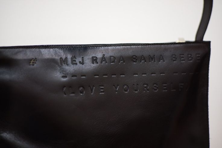 Stylish black handbag Měj ráda sama sebe - Love yourself by Lada Vyvialová II