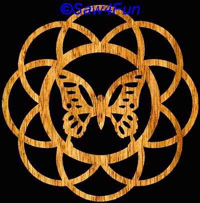 Christmas Scroll Saw Patterns | Butterfly #1 Coaster Scroll Saw Pattern