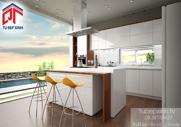 Tủ bếp, kệ bếp, phụ kiện tủ bếp: Tủ bếp gỗ TVNN1407 Tủ Bếp Xinh chuyên thiết kế tủ bếp - sản xuất tủ bếp - lắp đặt tủ bếp, tủ áo, kệ tivi.... Mẫu tủ bếp hiện đại, sang trọng kết hợp đảo bếp tạo nên điểm nhấn ấn tượng.