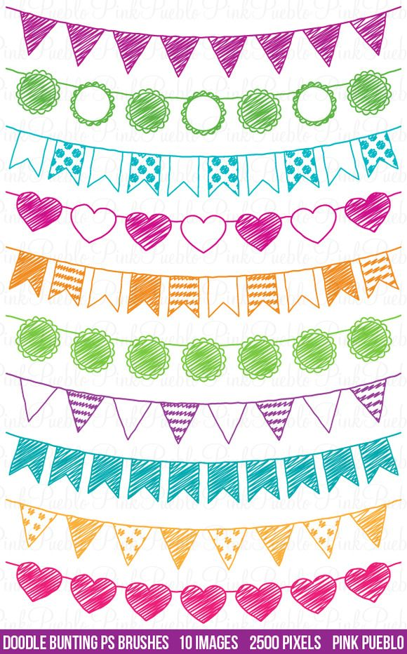 Doodle Bunting Photoshop Brushes by PinkPueblo on @creativemarket