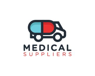 Medical Suppliers Logo design - Logo design of a truck with the trailer shaped like a medical pill.  Price $250.00