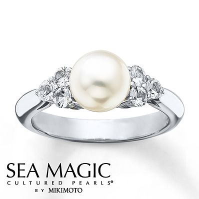 Cultured Pearl Ring Natural White Shires Sterling Silver And Diamond