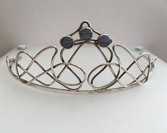 Celtic knot work meets Art Nouveau curves - a sterling silver hallmarked tiara with 3 blue lace agate stones for something blue...