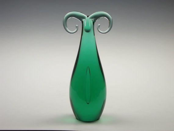 Zelezny Brod teal green glass ram sculpture by Miloslav Janku