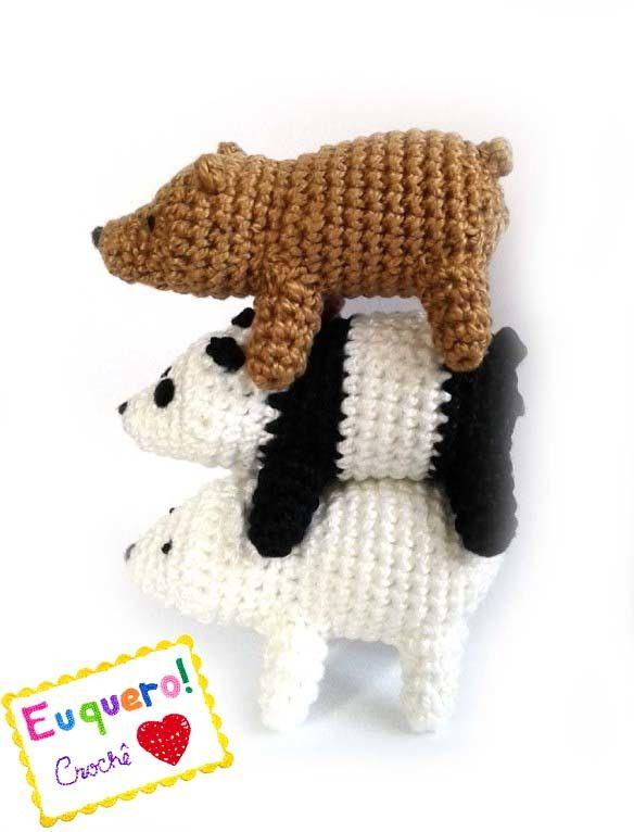 Ursos sem Curso em crochê (3 itens) Pardo, Panda e Polar We Bare Bears - Grizzly, Panda and Ice Bear Crochet