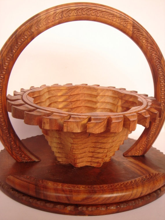 Collapsible Wooden  FRUIT /FLOWER basket by Art8craft on Etsy, $70.00