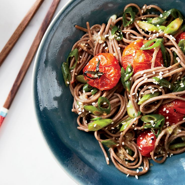 Ready in just 30 minutes, this chunky Asian tomato sauce on cool soba noodles is perfect for a quick weeknight meal.