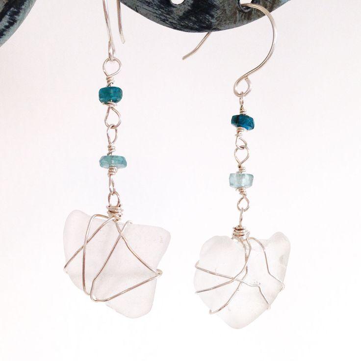Sea Glass Beach Earrings - Silver