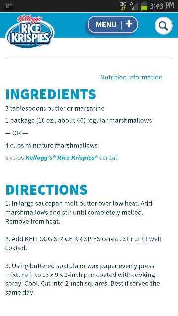The one and only original rice krispies treat recipe. Very simple :)