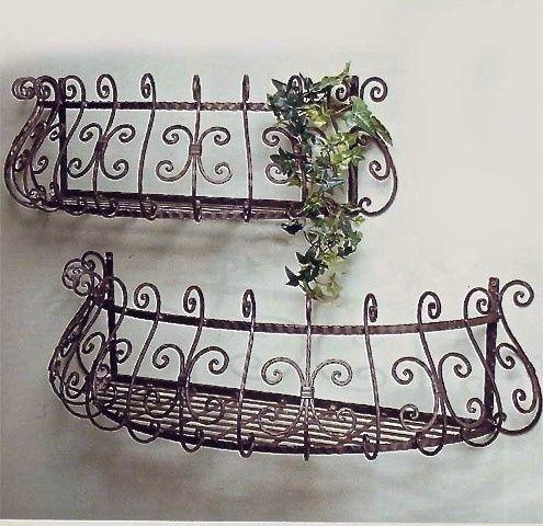 Wrought Iron Curved Window Box Brown Finish Set of 2 in Home & Garden, Yard, Garden & Outdoor Living, Gardening Supplies | eBay