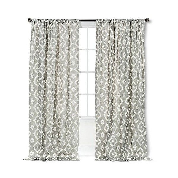 Threshold Farrah Southwest Curtain Panel - Grey ($25) ❤ liked on Polyvore featuring home, home decor, window treatments, curtains, grey, threshold window panel, southwestern curtains, target curtains, grey panels and gray panels