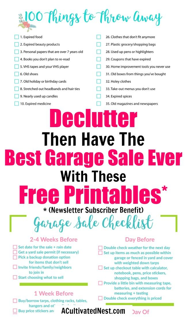 Subscriber Resource Library A Organized Nest Garage sale tips