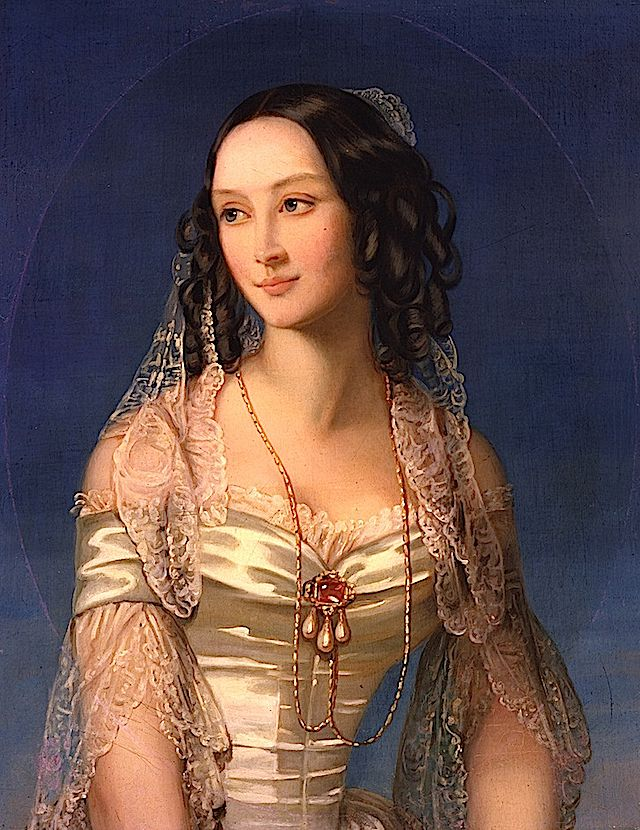 Duchess Zinaida Yussupova by Christina Robertson, said to be at the State Tretyakov Gallery, Moskow, Russia.  Daughter of Ivan Naryshkin and Varvara Ladomirskaya, she married Prince Boris Yusupov (1794-1849) and had a son Nicholas (1827-1891).  She was the great grandmother of Felix Yusupov, who remembered visiting her as a child.