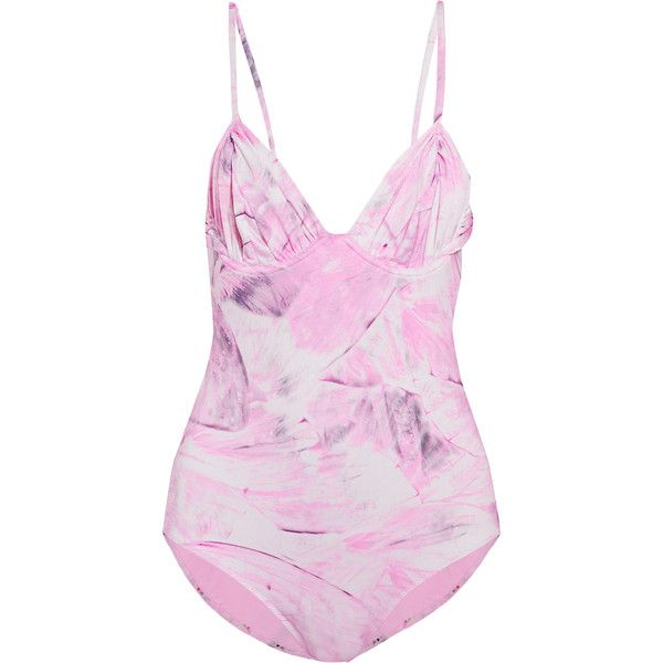 La Perla Open-back printed swimsuit ($95) ❤ liked on Polyvore featuring swimwear, one-piece swimsuits, pastel pink, underwire one piece swimsuit, tie back swimsuit, open-back one-piece swimsuits, underwire swimwear and la perla swimsuit