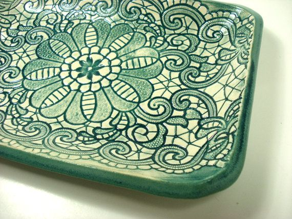 Teal Lace Dish Teal Home Decor Candy Dish Teal by MagicMoonPottery