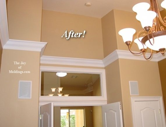 Flying crown molding - perfect for making vaulted ceiling manageable