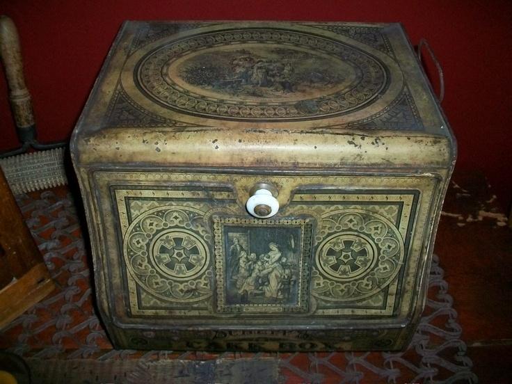 Antique Schepps Cake Box Tin 1800s General Store Storage