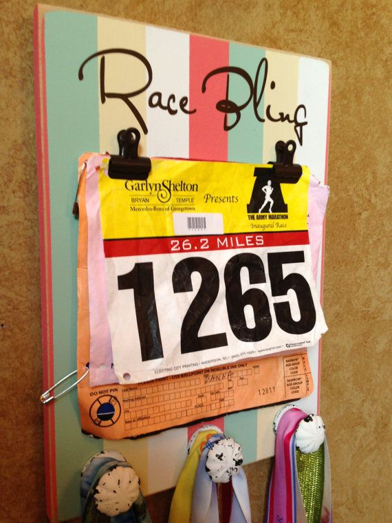 Running Medal holder and Running Race bib Holder by FrameYourEvent, $37.99 It's in the mail! Love it!
