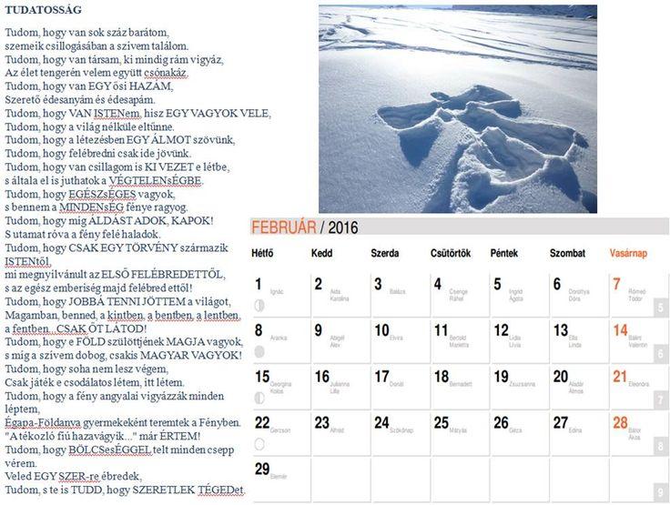 NAPtár harmadik oldal  Saját verseimből szerkesztett NAPtár a 216-os évre sok SZERetettel. :)