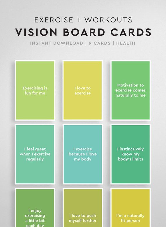 Affirmations for Vision Boards: Wellbeing & Fitness, Vision Board Printable, Vision Board Cards, Law of Attraction, Daily Affirmations