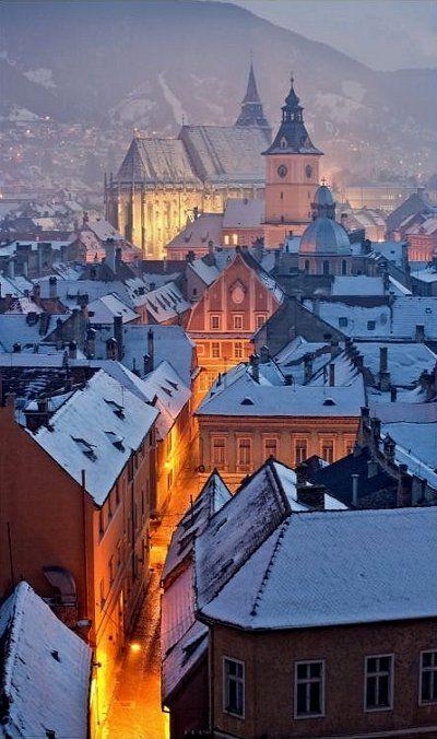 Snowy Night, Brasov, Romania
