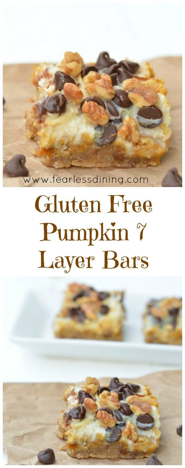 Gluten Free Pumpkin 7 Layer Bars are a delicious easy dessert anytime. Recipe at http://www.fearlessdining.com