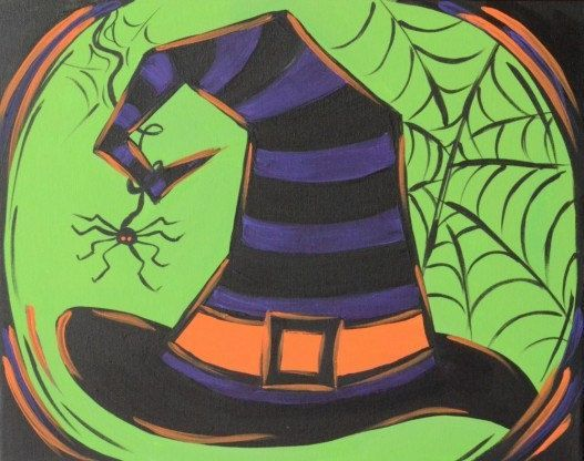 Halloween witch hat canvas painting