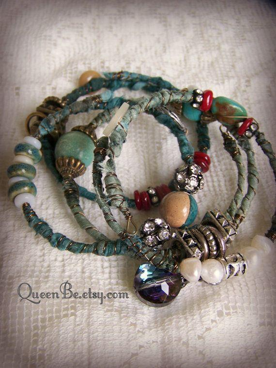 Turquoise Bangle Bracelet Stack Vintage Gypsy Boho Bracelet