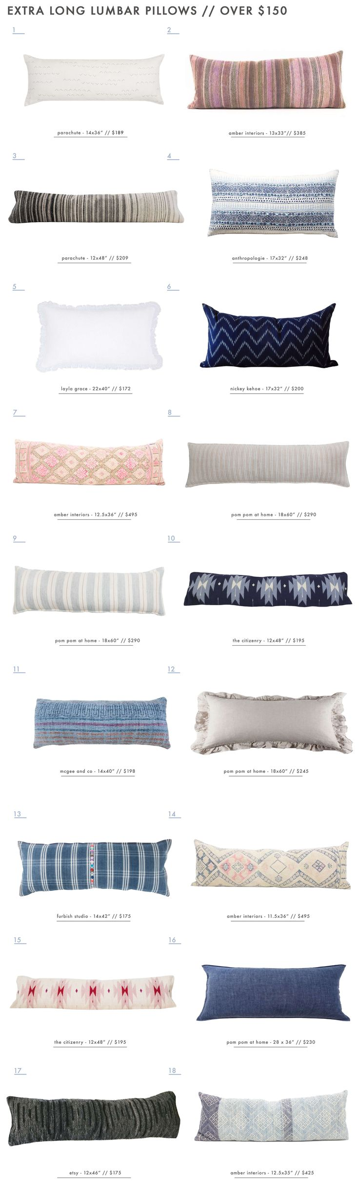 Our Extra Long Lumbar Pillow Roundup - Over $150