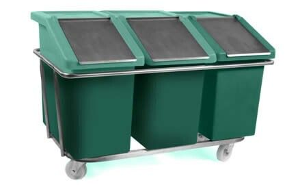 Plastic feedbins mounted on a trolley and complete with blackboards for chalking on names/contents