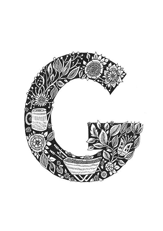 A4 G is for Garden Typographical Illustrations by MenisArt on Etsy